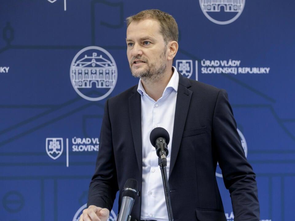 Na snímke predseda vlády SR Igor Matovič (OĽANO) počas brífingu na Úrade vlády SR v Bratislave v sobotu 19. septembra 2020. FOTO TASR - Dano Veselský